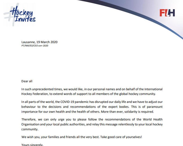 Писмо от президента на FIH